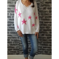 Pull en Maille Star Blanc