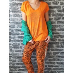 T-Shirt Skull Strass  Orange